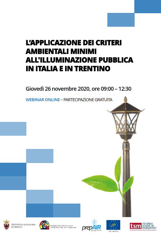 L'applicazione dei criteri ambientali minimi all'illuminazione pubblica in Italia e in Trentino